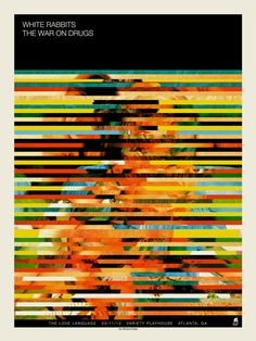 artists, graphic, gig poster, atlanta, methan studio, concert posters, stripe, print, white rabbit