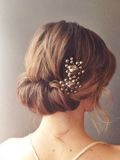 Romantic, textured chignon.  Wedding hair.