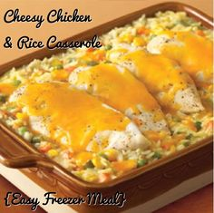 Cheesy Chicken  Rice Casserole {Easy Freezer Meal} #Recipe  1 cup uncooked rice  1 can of cream of chicken soup 1 can of cream of mushroom soup 1/2 cup water 2 cups frozen veggies 1/2 tsp. onion powder 1/4 tsp. ground black pepper 4 skinless, boneless chicken breast halves - you can also use canned, if you want it shredded in 1/2 cup shredded cheddar cheese