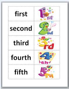 Ordinal Words and Numbers Freebie