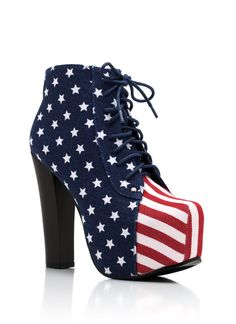 american flag lace-up bootie $48.00