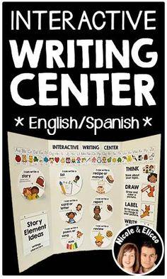 DIY Interactive writing center in English & Spanish!
