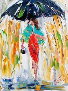 Oil Painting Rain and Red Dress
