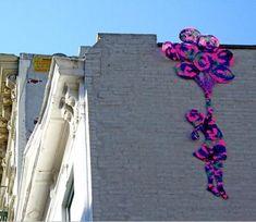 crocheted Banksy tribute by Olek