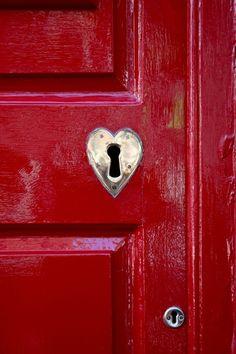 red doors, the doors, hardware, colors, heart shapes, lock, front doors, hous, key