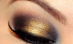 This is an old school YSL trick, and it still works.  Put a thumbprint of gold/bronze in the center of a dark lid. makeup tutorials, blackgold, the flash, makeup tools, eye makeup, color, black gold, eyeshadows, cinderella