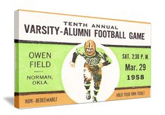 Bud Wilkinson's 1958 Sooners only lost 1 game. Vintage 1958 Oklahoma football ticket art. http://www.shop.47straightposters.com/
