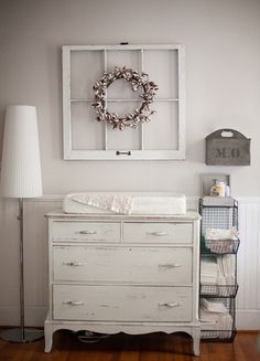 vintage dresser changing table: storage basket to right of changing table