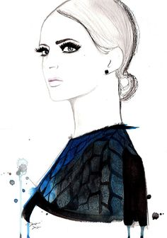 Lashes to Bat, #watercolor #illustration #fashion by Jessica Durrant