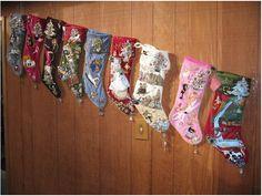 Jeweled Family Christmas Memory Stockings