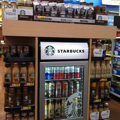These Starbucks drinks are loaded with sugar. Walmart, please promote water or seltzer instead. (Walmart Supercenter, Bechtelsville, PA, 8/14)