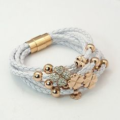 Fashion Jewelry Bracelets, PU Leather with Polymer Clay Rhinestone and Brass Magnetic Clasps, Rose Gold Metal Color, White