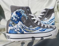 Hand Painted Converse Shoes - The Great Wave Off Kanagawa on Etsy, $165.00 --D. T.