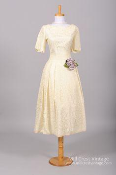 1950 Lace Vintage Wedding Dress : Mill Crest Vintage