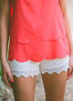 scalloped top & lace shorts.