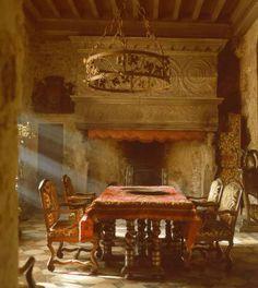 dining rooms, decor, medieval rooms, interior, castl, dine room, fireplac, dream hous, mediev room