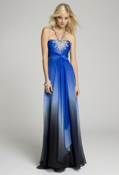 Bridesmaid Dresses - Ombre Beaded Halter Long Prom Dress from Camille La Vie and Group USA
