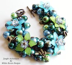 Charm Bracelet  JUNGLE ADVENTURE  Clusters by whiteravendesignsau, $29.00