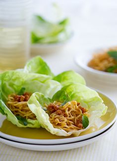 Spicy Pork Lettuce Cups with Noodles