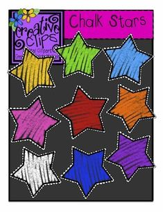 Free Clipart! Colorful chalk stars for personal and commercial use :) Created by Krista Wallden, Creative Clips Digital Clipart. Enjoy!
