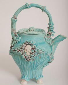 Skull Mermaid Turquoise Teapot☆ミ☆彡