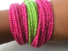 Hot Pink and Green Seed Bead Bracelet
