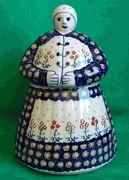 Polish Pottery Cookie Jar Lady