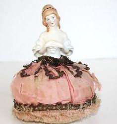 Vintage Porcelain Half Doll Pin Cushion Pink Silk
