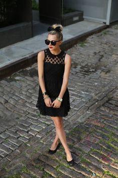 Atlantic-Pacific | #LBD Black Dress with #sheer #polkdot and #peterpancollar. Black bow in hair.