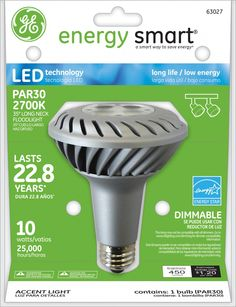 GE Energy Smart 45W Replacement (10W) PAR30L LED Bulb (Warm, Dim, Energy Star) $48.95