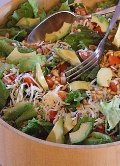 Truly my favorite salad of ALL TIME:  Avocado Pine Nut Salad.  The dressing brings it all together.  People always request the recipe at potlucks.