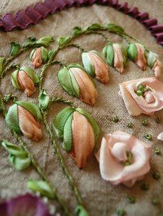 ribbonwork, silk ribbon, ruban, ribbons, broderi, bordado, ribbon embroideri, ribbon work, crazi quilt