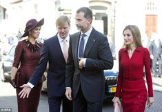 And they're off: Willem-Alexander then led the way as the couple made their way into the Noordeinde Palace
