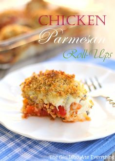 Chicken Parmesan Roll-Ups {The Girl Who Ate Everything} #recipe