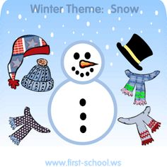 FREE Snow, snowmen, and snowflakes activities and crafts for preschool, Kindergarten to 2nd grade