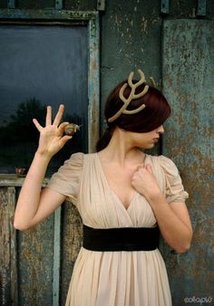 Love the snail, pose, dress and rusty wood background