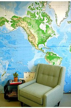 world map wallpaper for studio basement