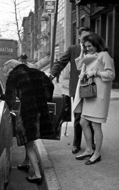 Jacqueline Bouvier Kennedy and Lee Radziwill leaving Lafayette Restaurant. December 2, 1966