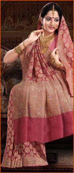 Light #Pink Pure #Banarasi Summer #Silk #Saree with #Blouse @ $321.63 | Shop Here: http://www.utsavfashion.com/store/sarees-large.aspx?icode=snn46