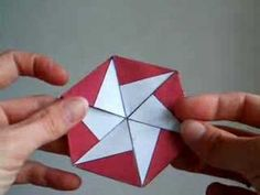 How to Make a Trihexaflexagon by dutchpapergirl and britton.disted.camosun.cb.ca : Flexagons are flat models made from folded strips of paper that can be flexed to reveal a number of hidden faces. A trihexaflexagon can reveal six unique patterns. #DIY #Flexagon #Trihexaflexagon #Math #dutchpapergirl
