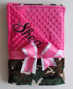 PERSONALIZED Camouflage / Hot Pink minky dot blanket - by The Sleeping Babe on Etsy, $36.00