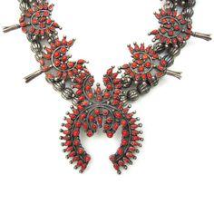 Antique Coral Squash Blossom Necklace