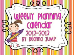 2012-2013 Teacher's Planning Calendar...  Great organizational tool for recording parent conferences, meetings and other important dates and notes.  Includes adorable graphics and thought p...