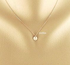 ROSE Gold Monogram Charm Necklace, Tiny PINK Rose gold initial necklace, Contemporary Bridesmaid's Jewelry, rose gold necklace