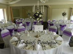 Purple Organza Sashes with handmade fabric chair covers