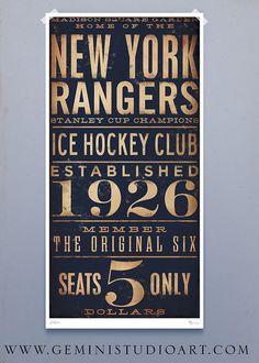 New York Rangers hockey club graphic art