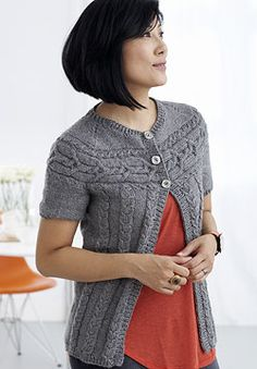 Free Pattern - Patons Decor - Cardigan with Cabled Yoke (knit)