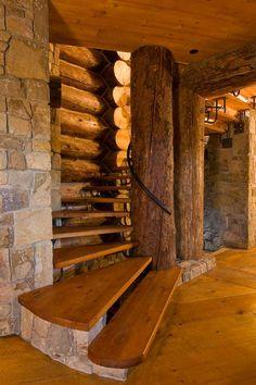 Log spiral staircase