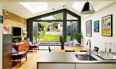 brick wall, expos brick, extend, ceil window, extens idea, exposed brick, kitchen, 1930s extension, 1930s house extension