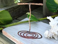 Hand forged copper earring display stand  by JoDeneMoneuseJewelry